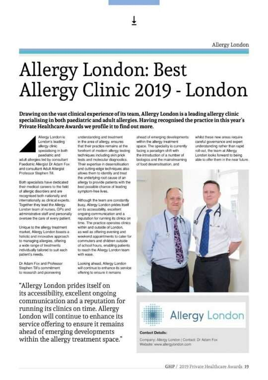 Allergy London Awarded Best Allergy Clinic